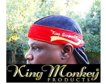 VELVET DU-RAG: King Scorpion Multi Color Reversible Crushed Velvet Designer Fat Lace Custom Du-Rag, Hair Wrap, Turban by King Monkey Product