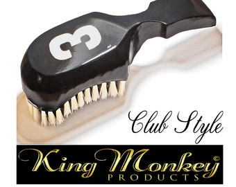 Solid Black 360 Wave Brush 9 Row Tight - Medium King Scorpion 360 Wave Brush Short Handle Custom Made Hair Brush by King Monkey Products