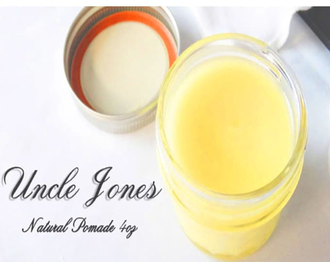 Featured listing image: Uncle Jones Natural Hair Pomade 4 .oz - Made With Beeswax No Greasy Build Up Grows Hair Fast or Your Money Back Plus Free Hair Brush