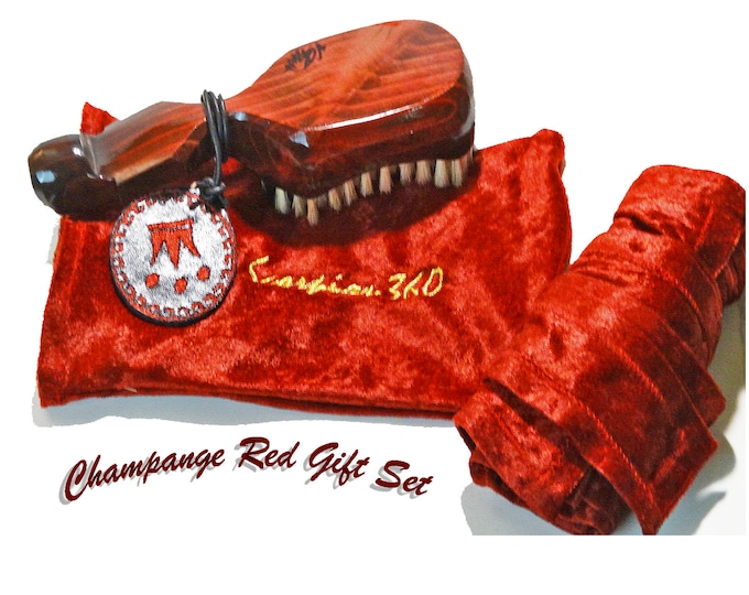 Featured listing image: Champagne Red 10 Row Tight Gift Set Bundle Custom King Scorpion 360 Wave Brush, Velvet Du-Rag & Pouch Plus 4 oz. Natural Hair Pomade