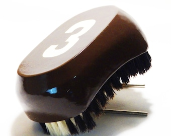 Chocolate Brown Medium-Soft 540 Wave Brush King Scorpion 360  Palm 9 Row Tight Custom Hairbrush With Glow Effect Logo