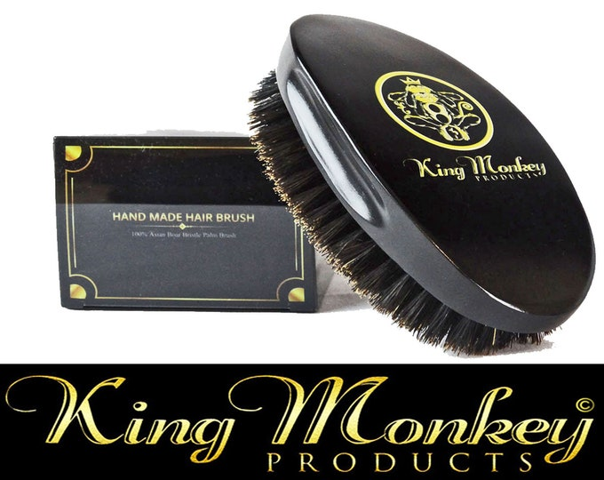 Featured listing image: KING MONKEY PRODUCTS - 1776 Natural Boar Bristle Palm Hair & Beard Brush %100 Pure Boar Bristle Unisex Cushion Hair Brush Plus Velvet Bag