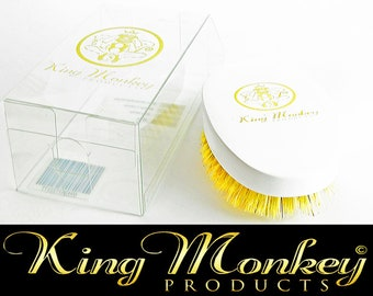 KING MONKEY PRODUCTS Model 1776 - Limited Edition White Hard Boar Bristle Unisex Cushion Hair & Beard Brush
