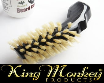 Handmade Short Handle Small Beard Brush New Triple Black Beard Brush - By King Monkey Products