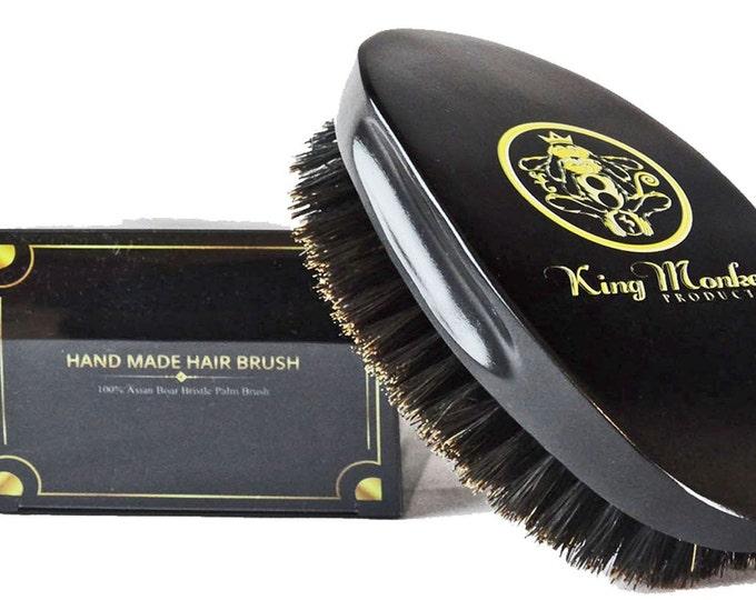 Featured listing image: KING MONKEY PRODUCTS - 1776 Natural Boar Bristle Palm Hair & Beard Brush %100 Pure Boar Bristle Unisex Cushion Hair Brush Plus Velvet Bag