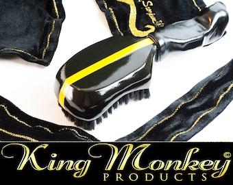 Black & Gold Wave Brush Gift Bundle - Leather Grip Custom Wood Hair Brush Plus Velveteen Fat-Lace Du-Rag King Scorpion 360 Gold Gift Bundle