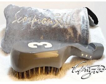 King Scorpion 360 Medium Hard Platinum Grey Wave Brush | Platinum Grey Goose Down Velvet Carrying Pouch | Custom Wave Brush Set by V. Knight