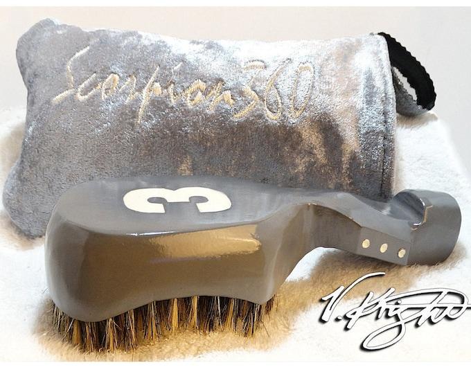 Featured listing image: King Scorpion 360 Medium Hard Platinum Grey Wave Brush   Platinum Grey Goose Down Velvet Carrying Pouch   Custom Wave Brush Set by V. Knight