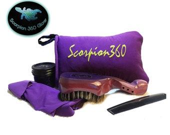 King Scorpion 360 Royal Purple Medium Hard Wave Brush | Goose Down Velvet Pouch | Reversible Velvet/Satin Du-Rag | Scorpion 360 Wave Butter