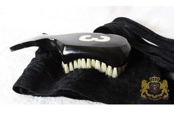 Solid Black 360 Wave Brush 9 Row Tight - Medium King Scorpion 360 Wave Brush Club Style Short Handle- Black Velvet Du-Rag