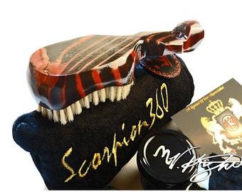 King Scorpion 360 Champagne Red Hard Wave Brush | Goose Down Velvet Carrying Pouch | Scorpion 360 Wave Butter | Wave Bush Bundle Set