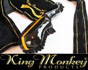 Black & Gold 360 Wave Brush Gift Bundle - Leather Grip 360 Wave Hair Brush Plus Gold Trim King Scorpion 360 Fat-Lace Velvet Du-Rag