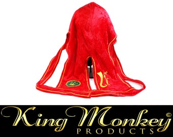 Red & Gold Fat-Lace Crushed Velvet Custom Du-Rag/Hair-Wrap/Turban with Gold Trim - King Scorpion 360 Gold Collection By King Monkey Products