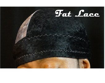 "VELVET DU-RAG King Scorpion 360 Multi Color Platinum Grey/Panther Black - Large 38"" Custom Fat Lace Velvet Du-Rag/Hair-Wrap/Turban"