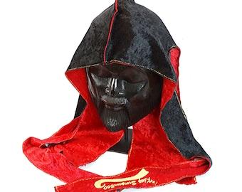Panther Black & Crushed Red Multi Color Reversible King Scorpion 360 Fat Lace Custom Crush Velvet Du-Rag/Hair-Wrap/Turban - Gold Collection