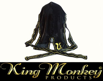 Black & Gold Custom Velveteen Fat-Lace Du-Rag/Hair Wrap/Turban King Scorpion 360 Custom Du-rag Gold Collection by King Monkey Products
