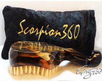 Soft Dark Mahogany Wave Brush | Black & Gold Scorpion 360 Goose Down Carrying Pouch | Custom Designer Wave Brush Set by V. Knight