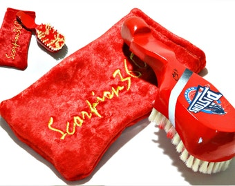 Detroit Pistons Inspired Fire Engine Red 10 Row Medium Soft Custom 360 Wave Brush Kit - Free Scorpion 360 Velvet Pouch Included