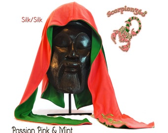 Reversible Multi-Color Silk Fat-Lace Du-Rag - Passion Pink & Mint