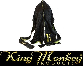 Panther Black & Olive Green Multi Color Reversible King Scorpion 360 Designer Fat Lace Du-Rag/Hair-Wrap/Turban - Gold Collection