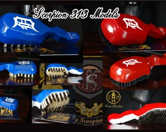 360 WAVE BRUSH: King Scorpion 360 Wave Brush - Scorpion 313 Detroit Edition - 10 Row Tight Custom Designer 360 Wave Brush Made