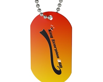 King Scorpion 360 Dog Tag - Beaded aluminum chain included