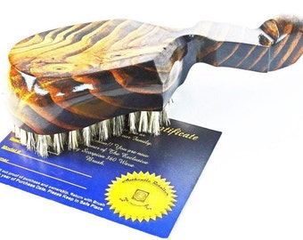 KING SCORPION 360 Wave Brush Model# KSL36075BLKG - Dark Golden Oak 10 Row Custom Made 360 Wave Brush By King Monkey Products