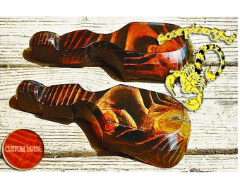 Long Handle Wide Mouth Custom Made Wood Hair Wave Brush - Boar Bristle & Custom Stain Option Now Available