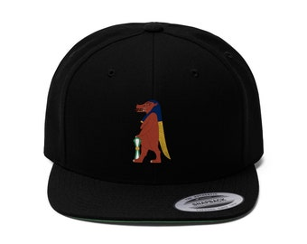 Snapback Unisex Wool Blend Flat Bill Embroidered Cap By King Monkey Products