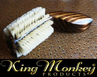 Handmade Short Handle Small Beard Brush New Triple Black Wood Beard Brush - By King Monkey Products