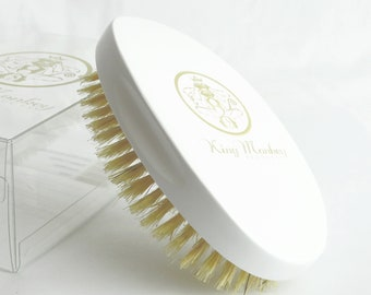 White Hard Boar Bristle Unisex Cushion Hair & Beard Brush KING MONKEY PRODUCTS Model 1776 - Limited Edition  - Free 2 Day Shipping