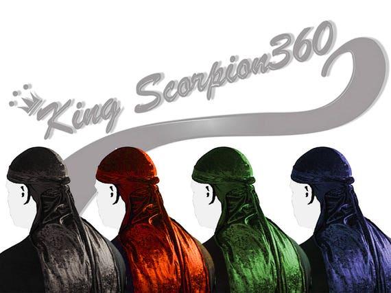 CUSTOM VELVET DURAG: King Scorpion 360 Fat Lace Velvet Du-rag/Hair Wrap/Turban