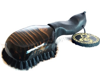 Leather Grip Wave Brush - Medium Dark Mahogany - Wide Mouth Collection