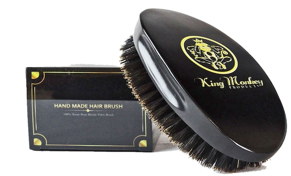 King Monkey Products Boar Bristles Black Medium Cushion Hair Brush