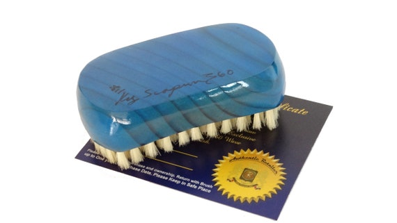 King Scorpion 360 Wave Brush Model KSS444BL - Prince Blue (soft) 9 Row Oval Palm Wood Hair Brush Also Great for Beards Made for Short Hair