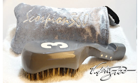 Medium Hard Platinum Grey Wave Brush | Platinum Grey Goose Down Velvet Carrying Pouch | Designer Custom Wave Brush Set by V. Knight