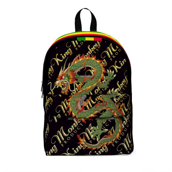 Unisex Classic Backpack - Green Dragon Collection - Comes In Many Vibrant Colors - By King Monkey Products