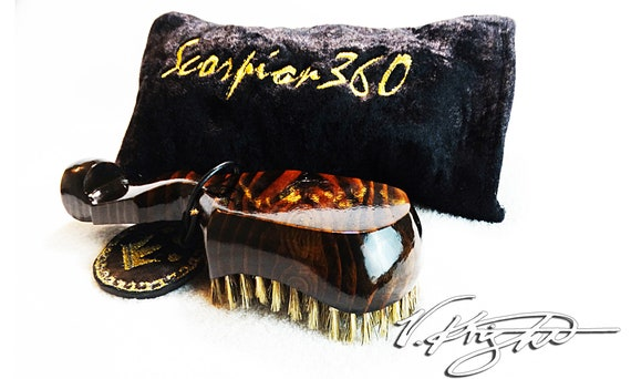 Medium Hard Dark Mahogany Wave Brush | Black & Gold Scorpion 360 Goose Down Carrying Pouch | Custom Designer Wave Brush Set by V. Knight
