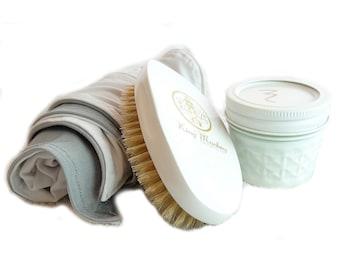 Medium Hard Cushion Hair Brush Bundle - Reversible Silk Du-Rag & Wave Moisturizer Included
