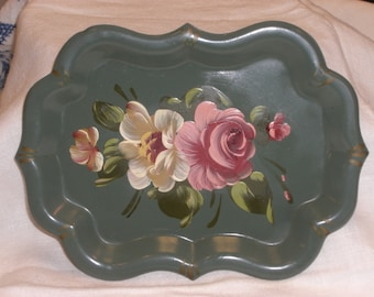 Tole Tray - Metal Painted Tray - Decorative Tray - Wall Decor - Vintage