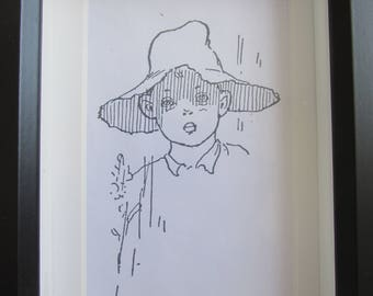 """Picture - Black Frame - Reproduction - """"Boy with Hat"""" - Child's Room"""
