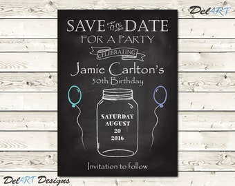 pinstripe birthday or surprise party save the date card or etsy