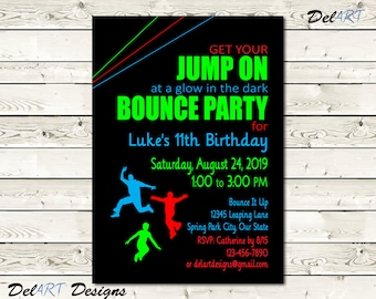 Bounce House Birthday Party Glow In The Dark Invitation Card Digital File After Customization JPG Or PDF Printable E