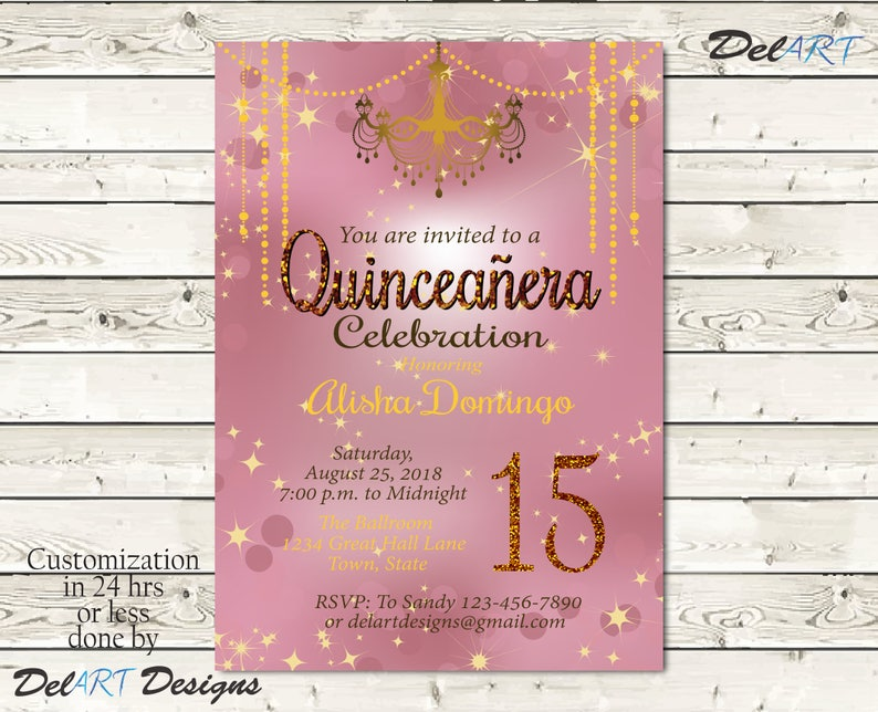 Rose Gold Sweet 16 Quinceanera And Or Masquerade Invitation Quincenera Birthday Party Ball Dance Invite Digital Printable File Ecard