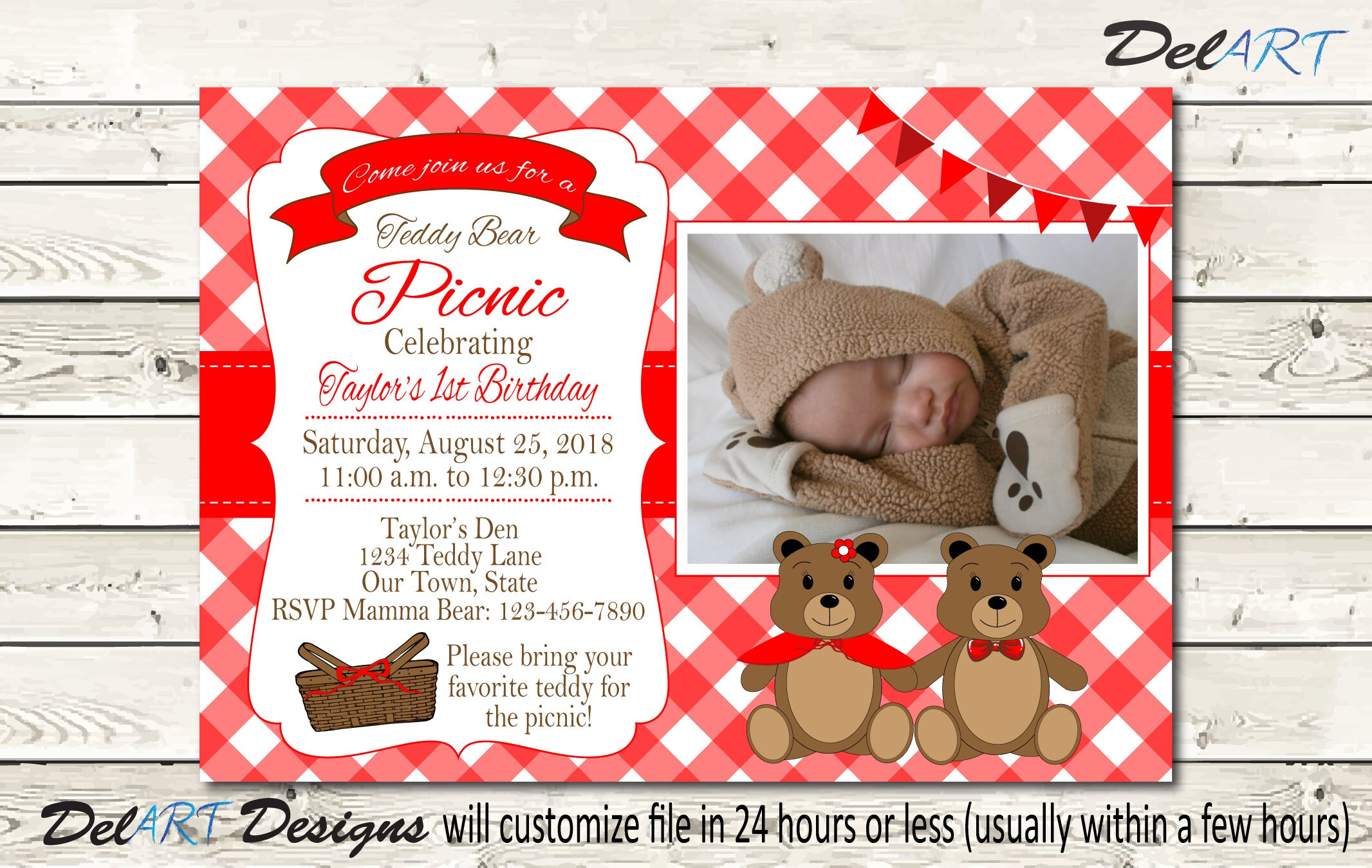 Teddy Bear Picnic Invitation Photo Invite Printable Digital   Etsy