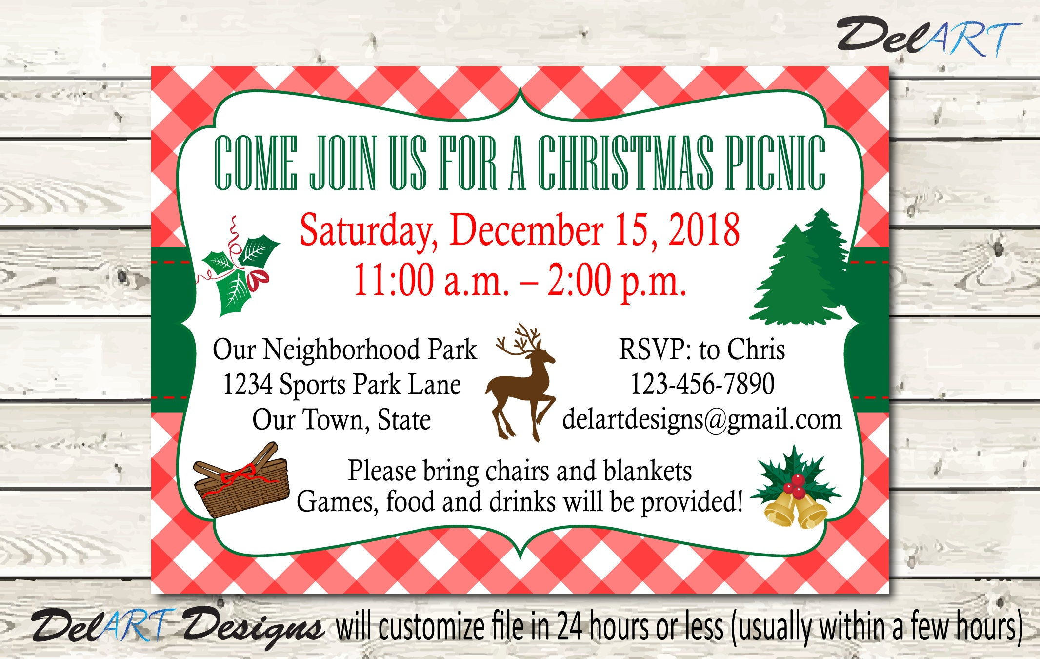 Christmas Picnic Invitations or Save the date Company Picnic | Etsy