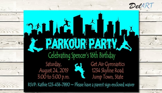 Parkour Birthday Party Jump Invitation Card Digital File After Customization Jpg Or Pdf Printable Or E Card