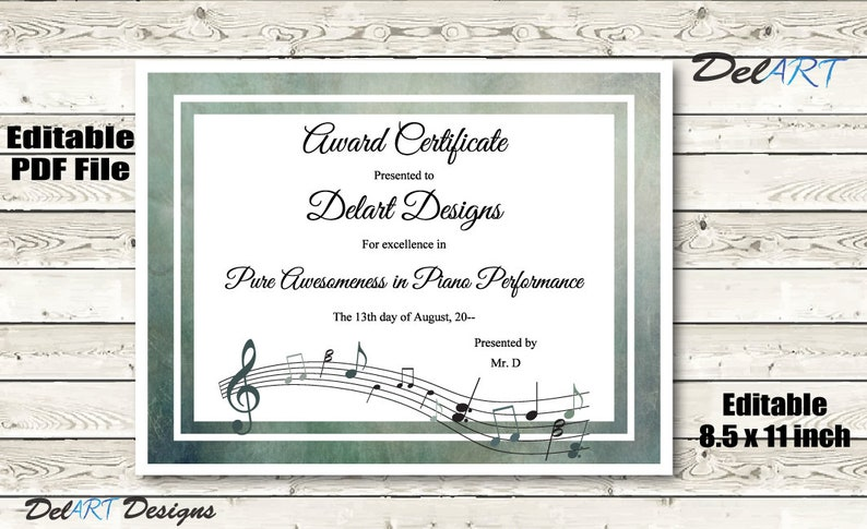 Music Certificate Instant Download Editable Pdf File 8 5 X Etsy