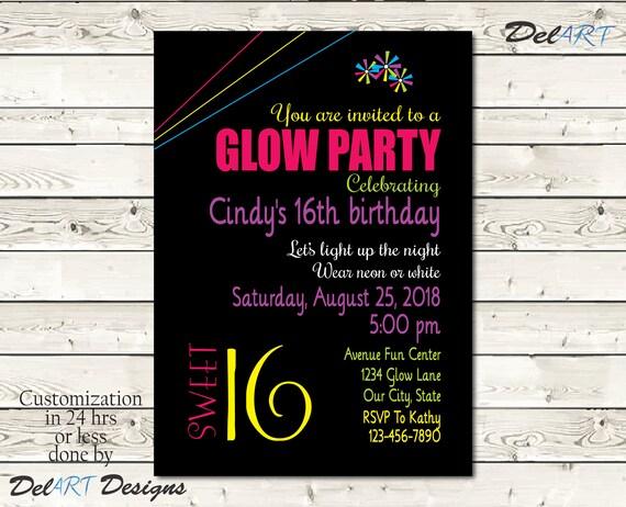 Sweet 16 Glow In The Dark Birthday Party Invitation Card