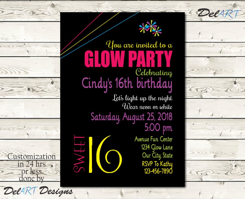 Sweet 16 Glow In The Dark Birthday Party Invitation Card 16 And Pinwheels Clipart Digital File JPG Or PDF Printable Or E Card